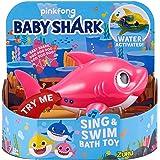 ZURU ROBO ALIVE JUNIOR- Mommy Shark - Juguete de baño para nadar y cantar a batería, por ZURU, individual, Color rosa (25282D
