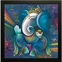 SAF Ganesha UV Coated Home Decorative Gift Item Framed Painting 12 inch X 12 inch SANF100006
