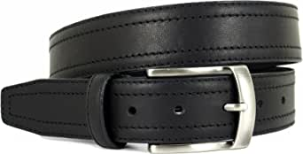 Handmade in Spain - 100% Genuine Quality Leather Belt for Men - Smart Casual - Stitched Design - Boxed - Brown and Black