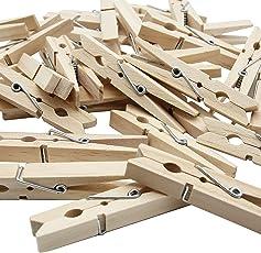 LeTOMA - Wäscheklammern aus Holz - Deko-Klammern ideal zum Basteln, Beschriften, Dekorieren, Verzieren und Wäsche aufhängen - Farbe Naturbraun