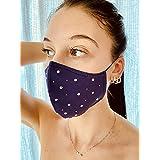 Mascherina Unisex Lavabile 100% cotone viola e strass argento