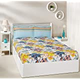 Amazon Brand - Solimo Floral Splash 144 TC 100% Cotton Double Bedsheet with 2 Pillow Covers, Peach
