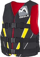 MESLE Schwimmweste V210 Red-YEL, 50N Schwimmhilfe für Erwachsene und Jugendliche