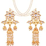 I Jewels 18K Gold Plated Intricately Designed Traditional Earrings with Hair Chain Encased With Kundans & Pearls (E2463-467)