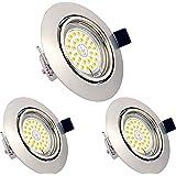 Lot de 3 Spots LED Encastrables Orientables Dimmables, GU10, 6W, Blanc Chaud 3000K, 230V, IP23, éclairage plafond LED intérie