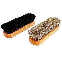 DELARA Deux brosses de polissage de haute qualité, 100% crin de cheval, en bois de hêtre laqué avec rainures de…