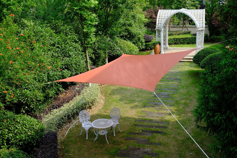 Cool Area Sonnensegel wasserabweisend Quadrat 5 x 5 Meter, Sonnenschutz Polyester für Garten und Balkon, Grün