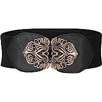 BlackButterfly 3 Inch Wide Waspie Elastic Vintage Buckle Waist Belt