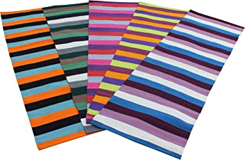 RYAN OVERSEAS Striped Cotton Handwoven Yoga/Exercise Mat -62x180 Cm (Assorted rug)