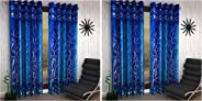 Home Sizzler 2 Piece Eyelet Polyester Door Curtain Set - 7ft, Blue & Shalimar Frill Panel 20 2 Piece Eyelet Polyester Window