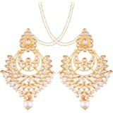 I Jewels White Gold Plated Kundan and Pearl Chandbali Earring with Chain for Women (E2498W1)