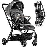 Hoco Buggy Reverse - leichter Kinderwagen mit umsetzbarer Sitzeinheit und Liegeposition   Blickrichtung wählbar, klein zusammenfaltbar - Grau Schwarz