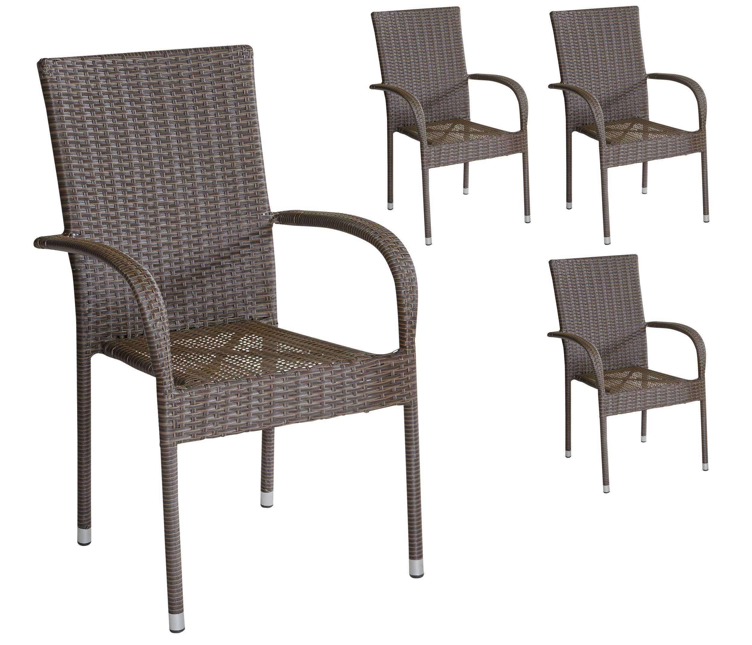 4er Set Armlehnstühle Gartenstühle Stapelstühle In Braun Mit