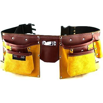 Ceinture porte outils en cuir de qualité avec 11 poches, ceinture ajustable  en nylon, bf2b467fa53
