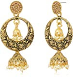 Zaveri Pearls Jhumki Earrings for Women (Golden)(ZPFK7207)