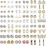 CASSIECA 54 Pares Aretes Surtidos Múltiples Pendientes para Mujeres Niñas Simple Aretes Bola Pequeña Estrella Triángulo CZ Pe