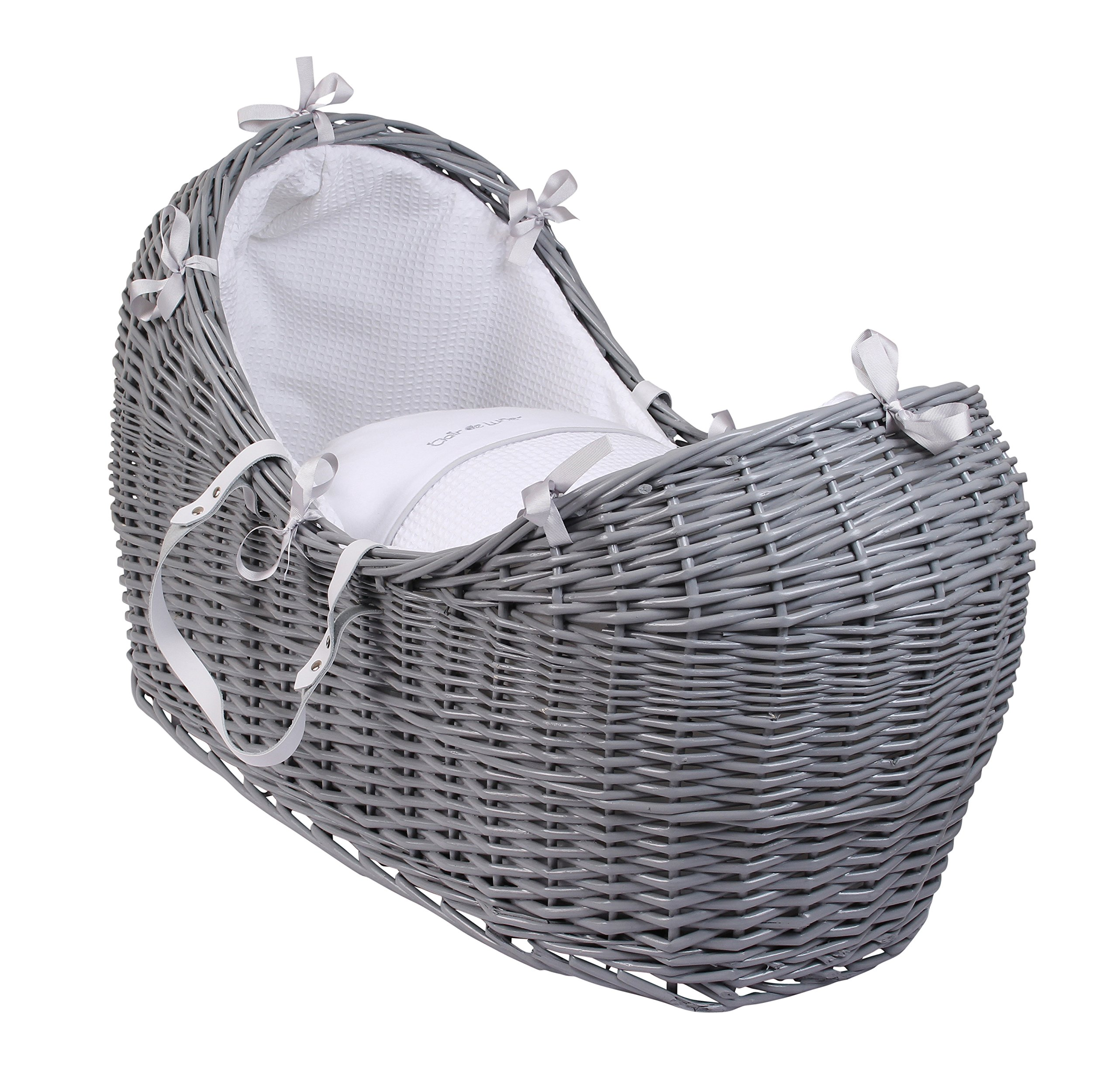 Clair de Lune Noah Pod (Silver Lining, Grey)  Made in the UK 100% Cotton Waffle Available in various colour Wicker Baskets 1