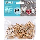 APLI - Bolsa mini pinzas madera 25 x 3 mm, 45 uds