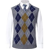 MorenMens Classic V-Neck Vest Sleeveless Jumper Knitted Gilet Knitwear Sweater Tank Tops Knitted Waistcoat Slipover…