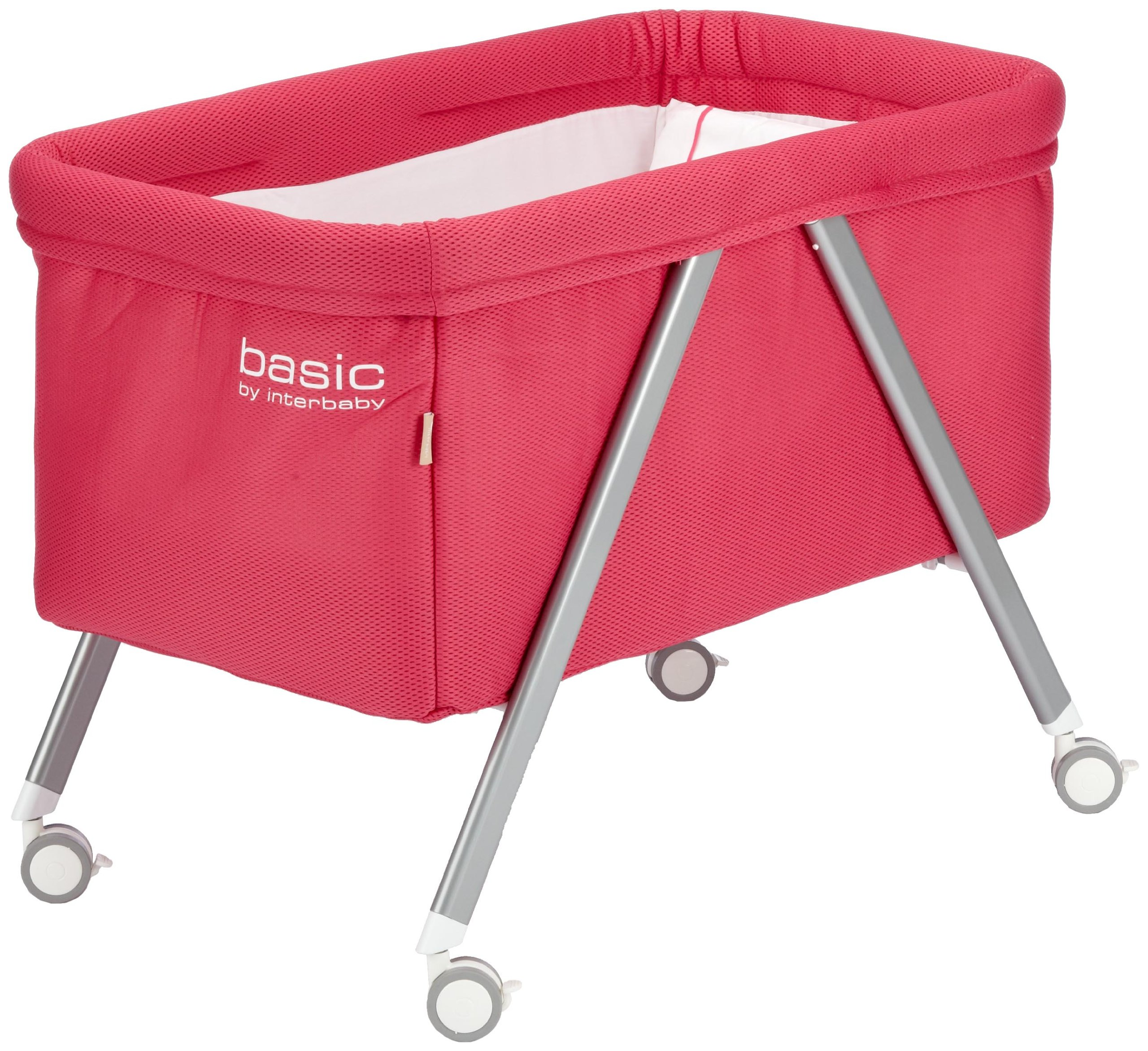 Interbaby Basic – minicuna with vestidura Gris/Fucsia  Four wheels minicot with brake Provided with mattress, sleeping bag and a mattress cover Easily removed from the structure of aluminium by a zip 1