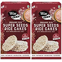 Wise Crack Organic Big Size Rice Cakes Super Seeds. Whole Grain Puffed Cracker. Crispy Snacks (105 gm Each) - Pack of 2