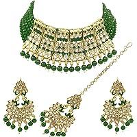 SAIYONI Meenakri Work Gold Plated Kundan & Pearl Studded Choker Necklace Earring With Maangtikka Jewellery Set For Women