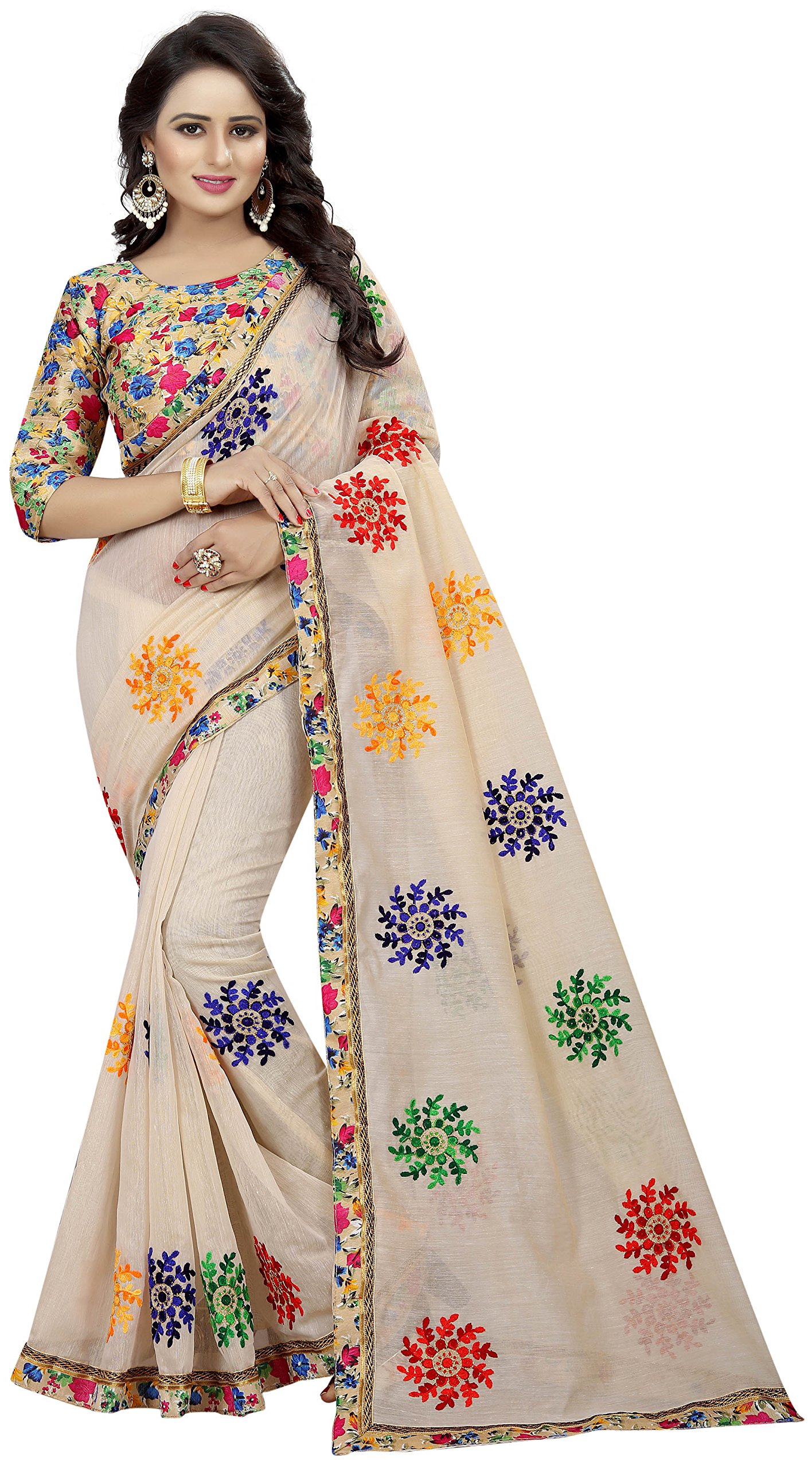Women's Chanderi Cotton Embroidered Saree with Blouse Piece