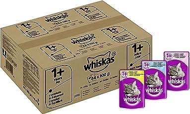 Whiskas Katzenfutter 1+ für erwachsene, verschiedene Sorten, 84 Portionsbeutel (84 x 100 g)