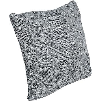 Design Zierkissen grau 45cm Baumwolle in Handarbeit gestrickt Strick ...