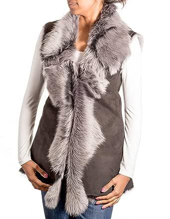 Da donna pelle scamosciata grigia con nero, pelle di pecora Toscana pelliccia lunga Gilet / Gilet imbottito