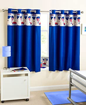 Blue Eyelet Children's Curtains -Thermal Blockout - Enhanced ...