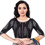 RENE Women's Cotton Printed Blouse (D-005378-Black)