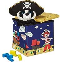 BiancoRelaxdays Pouf Contenitore, Porta Giochi per Bambini, Sgabello, Design-Pirati Poggiapiedi, 31x31x31 cm, Blu-Giallo