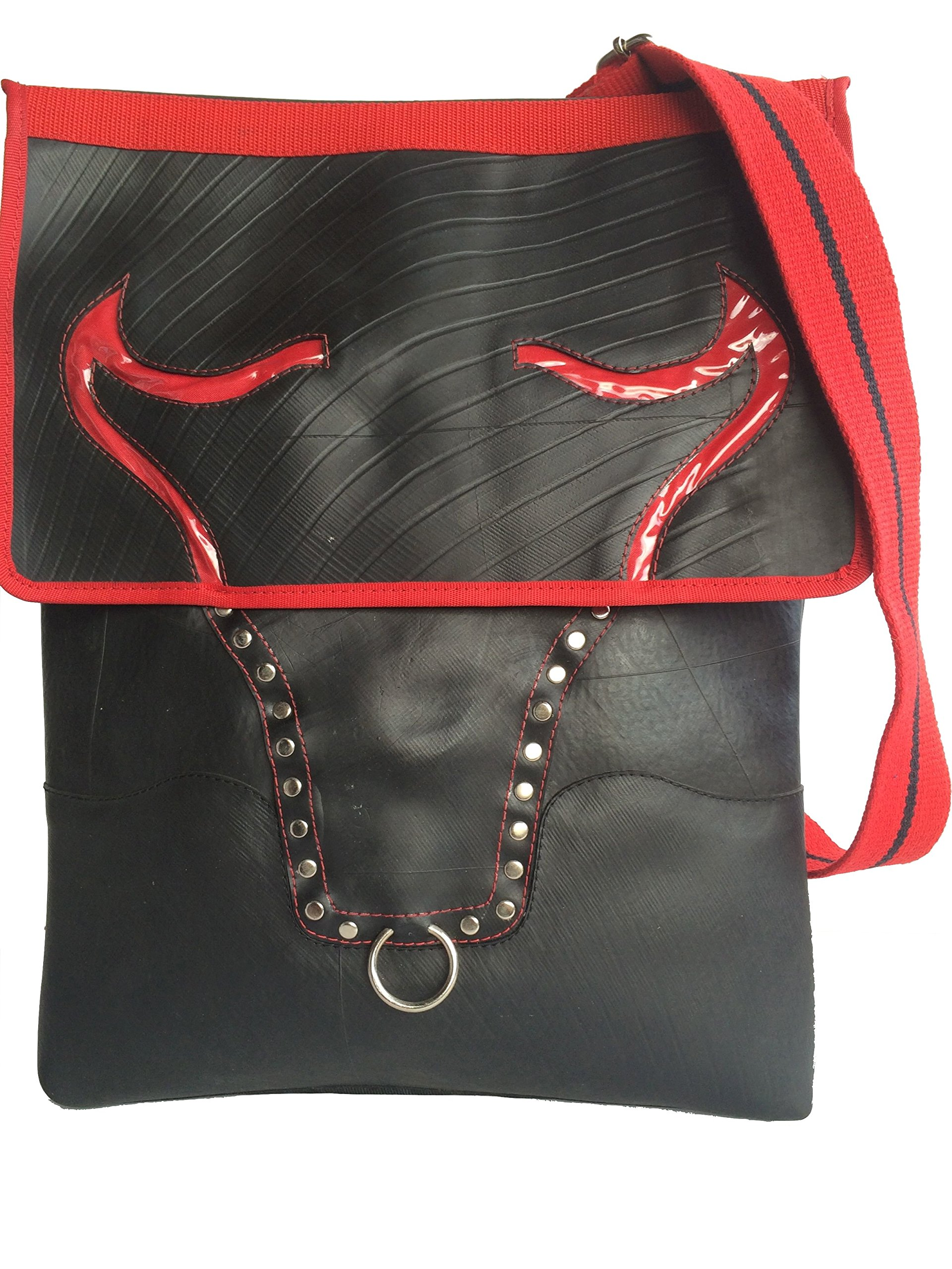 Recycled Rubber Tyres Inner Tubes Shoulder bag Bull - handmade-bags