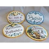 """TARGA nome porta in CERAMICA Siciliana personalizzata ovale (13 cm) - Cognome, Ingresso Casa, Azienda, Albergo, Ufficio""""ADATT"""
