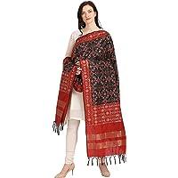 KAPAAHA Women's Woven Silk Blend Patola ikkat Dupatta/Chunni, Width 45 inch, Length 2.5 meter