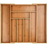 ONVAYA® Plateau à couverts en bambou extensible | insert pour couverts | insert pour tiroir | design vintage