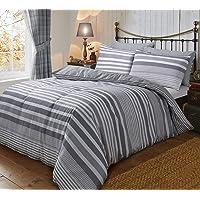 Sleepdown - Set di biancheria da letto double-face, in flanella, motivo a righe grigie, con federe, 200 x 200 cm, in…