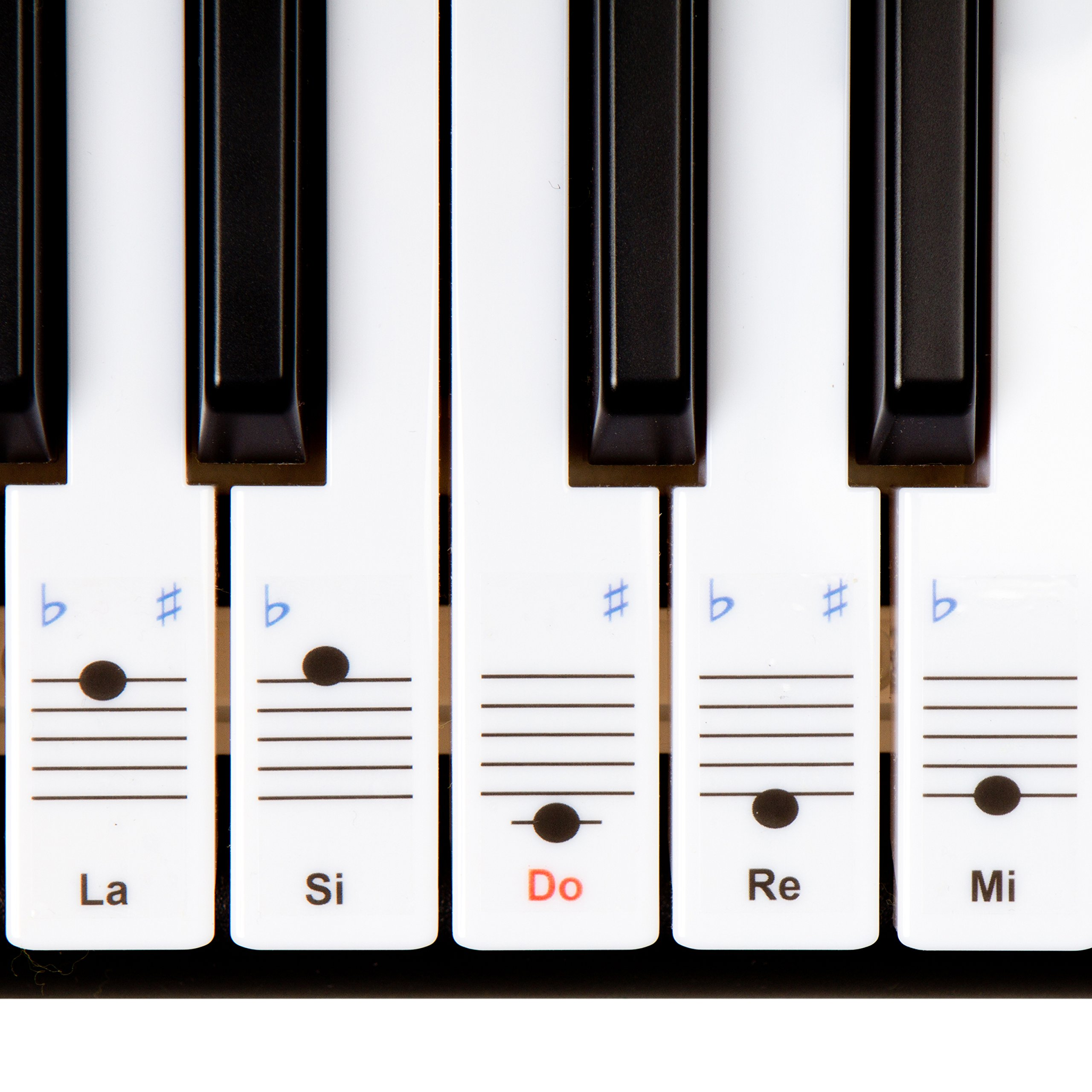 Autocollants Keysies amovibles en plastique transparent pour touches de piano et clavier – avec guide pratique d'installation.