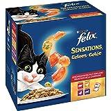 FELIX Sensations, Katzennassfutter, Vitamine & Omega 6 I Adult I 4er Pack (4 x 24 x 100 g)