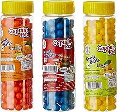 Captain Red Fruit Balls, Orange, 125g with Fruit Balls, Lemon, 125g and Fruit Balls, Cola, 125g