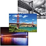 GREAT ART® Set van 3 XXL Posters - Bruggen - Golden Gate San Francisco Manhattan Brug New York Bosporus Brug Istanbul Muurdec