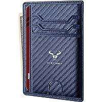 Porte-Cartes De Crédit Cash-Bulliant Mini Slim Portefeuille en Cuir Homme Femme RFID Blocage - Bleu1304 - S,S,Bleu1304