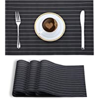 Smile Mom PVC Placemats/Mat for Dining Table Kitchen (Set of 4 Piece). Washable, Waterproof, Plastic (45 X 30 cm, Striped Black White)
