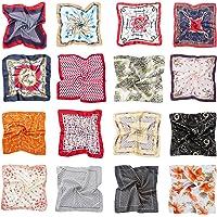 HBselect 16 pezzi Foulard Donna di Raso 50x50 cm Multiuso Sciarpa Donna Fantasia Fazzoletti da Collo Multicolore Bandana…