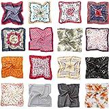 HBselect 16 pcs Pañuelos Cuello Mujer,Bufanda Cuadrada Paqueña Multicolor Para Mujer