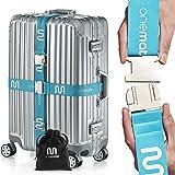 OneMate ® Koffergurt-Set mit Metallschnalle (für 2 Koffer) – Unfassbar robuster Gepäckgurt für 100% sichere Reisen | GRATIS Samtbeutel & Zufriedenheitsversprechen