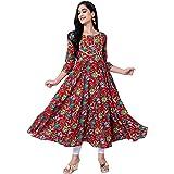 KIMAYRA Women's Printed Pure Cotton Anarkali Kurta, Fully Flared Beautiful Multicolor Printed Anarkali Kurti for Women/Girls