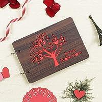 Webelkart Wooden DIY Photo Album Scrapbook Memory Book, Photo Album- 26 cm x 16 cm x 4 cm (30 Sheets)