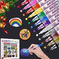 Marqueur Peinture Acrylique 12 Couleurs Peinture Acrylique Stylo pour Verre Pierres Bois Tasse Toile Tissu Papier DIY…